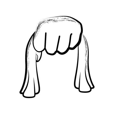Skizze einer Hand, die ein Tuch hält. Vektorillustrationsdesign