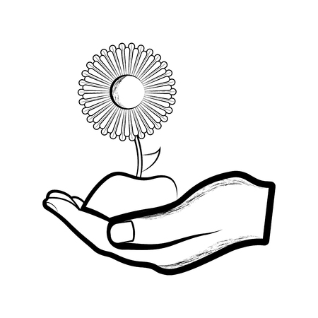 Sketch of a hand holding a sunflower. Vector illustration design Stock Photo