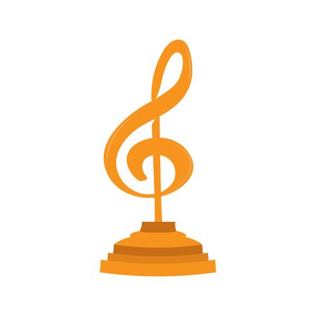 Musical note shape golden trophy. Vector illustration design