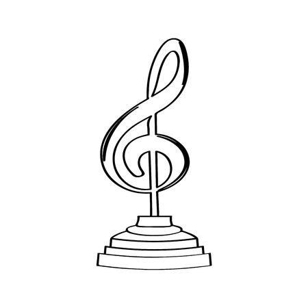 Musical note golden trophy icon. Vector illustration design Çizim