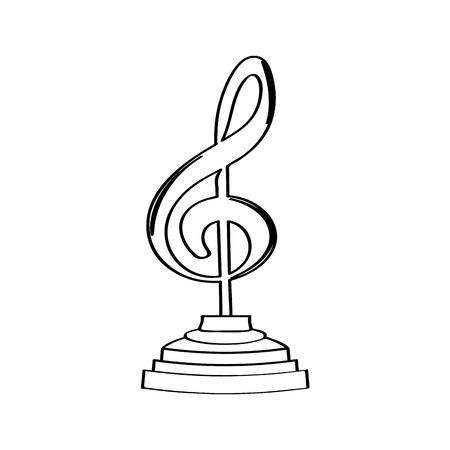 Musical note golden trophy icon. Vector illustration design Illustration
