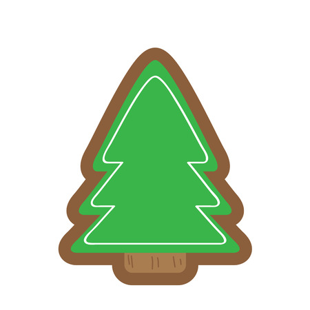 Gingerbread with a christmas tree shape. Vector illustration design