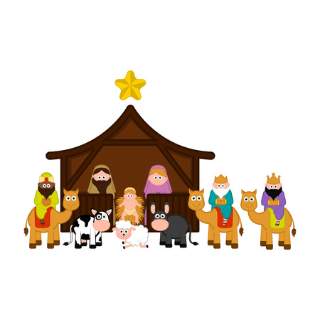 Christmas crib with all characters. Vector illustration design 向量圖像