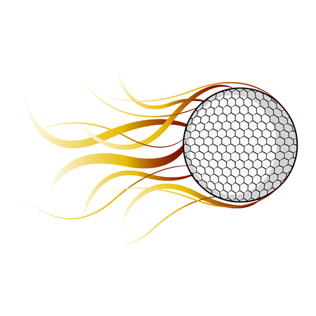 Isolated golf ball with a fire effect. Vector illustration design