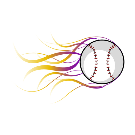 Baseball ball with a fire effect. Vector illustration design Illustration