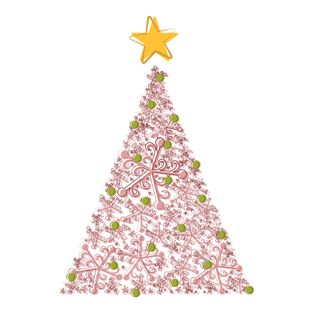 Sketch of an abstract christmas tree. Vector illustration design