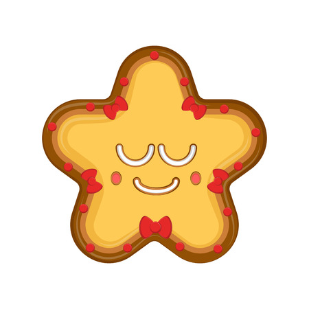 Happy christmas star gingerbread. Vector illustration design Çizim
