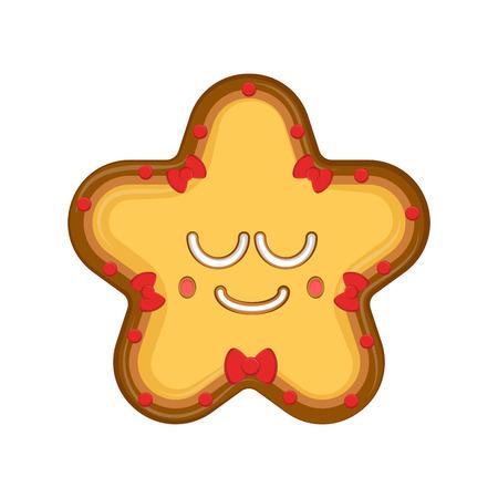 Happy christmas star gingerbread. Vector illustration design Illustration