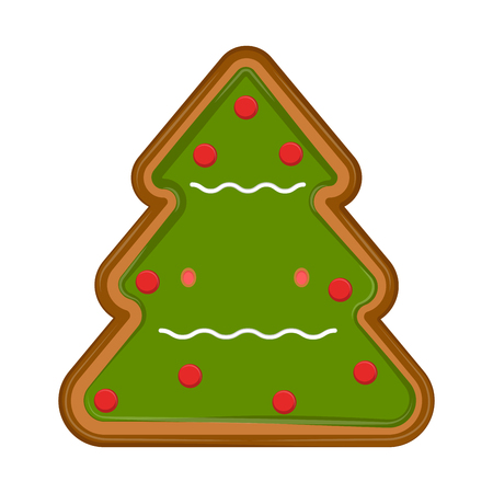 Isolated christmas tree gingerbread. Vector illustration design Çizim