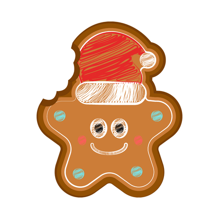 Happy bitten christmas star gingerbread with a christmas hat. Vector illustration design