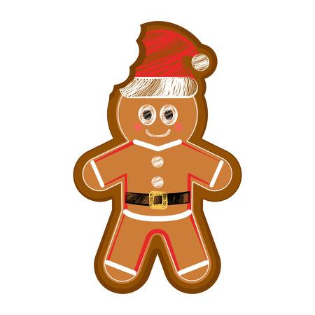 Isolated happy bitten gingerman cookie. Vector illustration design