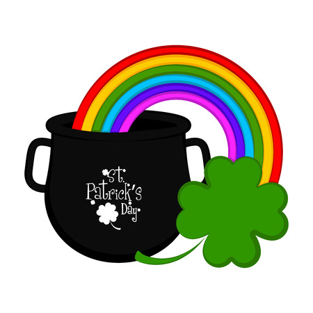 Pot with rainbow and clover. Saint patricks day. Vector illustration design