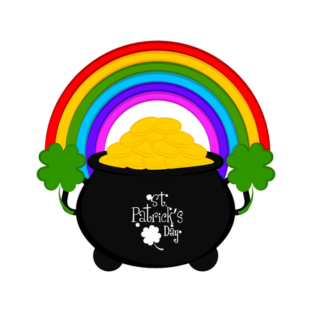 Gold coin pot with rainbow and clovers. Vector illustration design