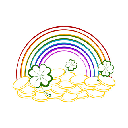 Sketch of a rainbow with golden coins and clovers. Vector illustration design