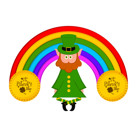 Irish elf with a rainbow and saint patrick day coins. Vector illustration design