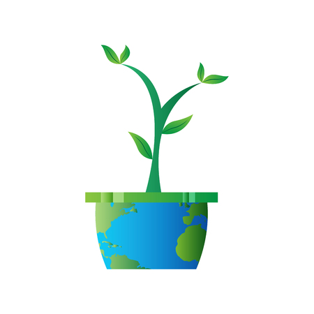 Plant on a flower pot with an Earth map. Earth day. Vector illustration design