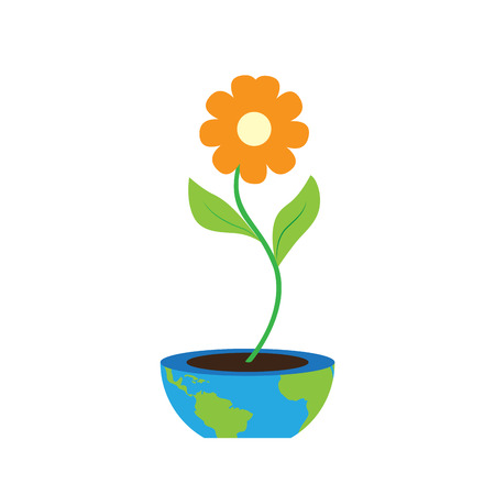 Flower on a flower pot with an Earth map. Earth day. Vector illustration design