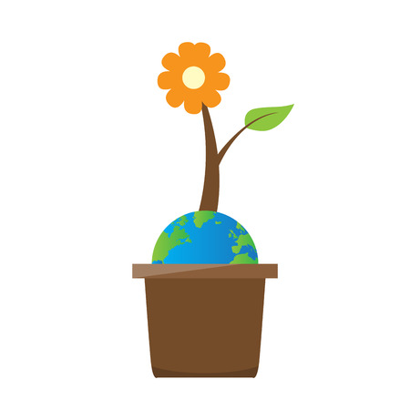 Earth with a flower on a pot. Earth day. Vector illustration design