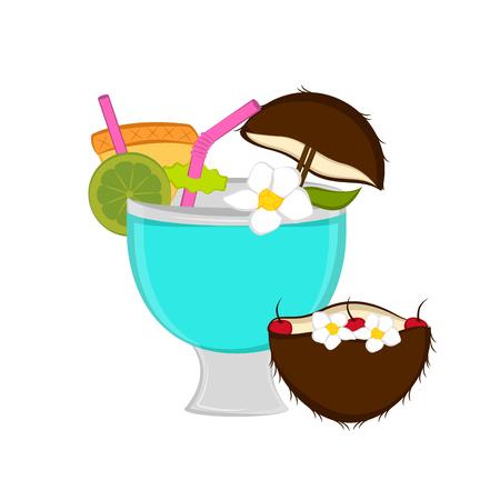 Isolated coconut cocktail image. Vector illustration design Çizim