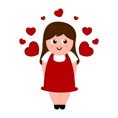 Isolated women with hearts. Valentines day. Vector illustration design