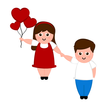 Isolated happy couple in love with a heart ballons. Valentines day. Vector illustration design