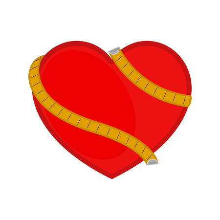 Heart with a measuring tape. Vector illustration design Stock Illustratie
