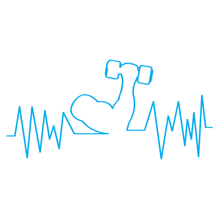 Cardiogram with an arm lifting a weight. Vector illustration design