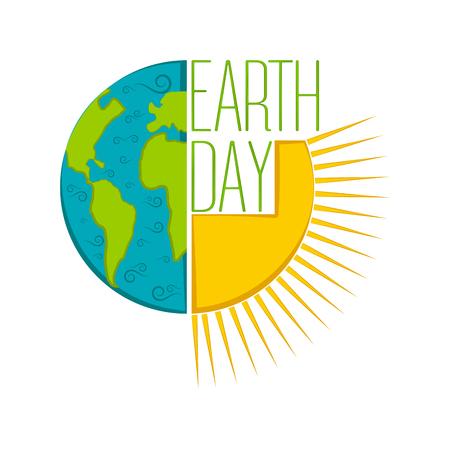 Etiqueta aislada del día de la tierra. Diseño de ilustración vectorial