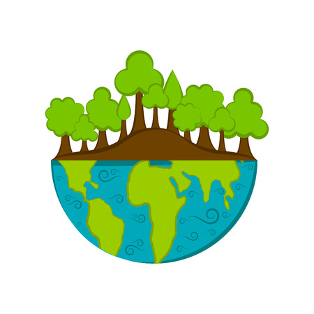 Isolated half earth with a trees. Vector illustration design