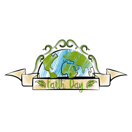 Isolated sketch of an earth day label. Vector illustration design Vettoriali