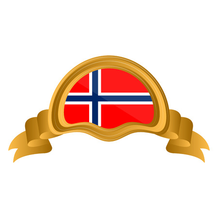 Isolated flag of Norway on premium label. Vector illustration design Illustration
