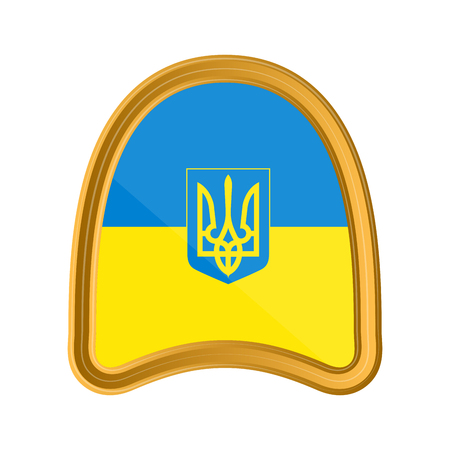 Isolated flag of Ukraine on premium label. Vector illustration design 일러스트