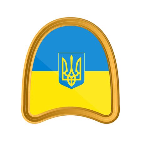 Isolated flag of Ukraine on premium label. Vector illustration design Ilustração