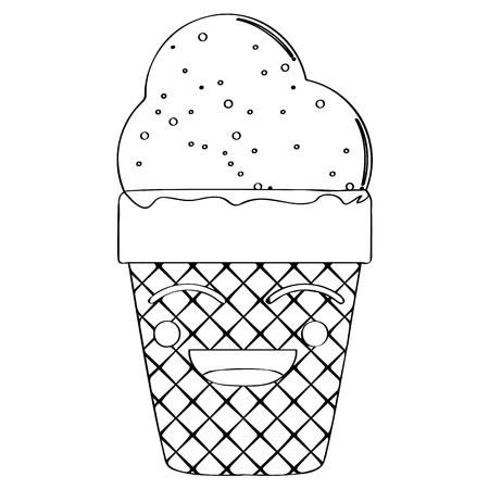 Happy ice cream cone outline. Vector illustration design