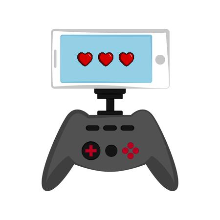 Smartphone with a joystick. Videogame. Vector illustration design Ilustração