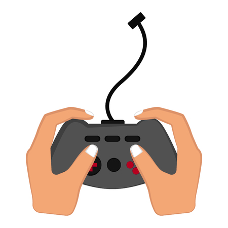Isolated videogame joystick in a hand. Vector illustration design 일러스트