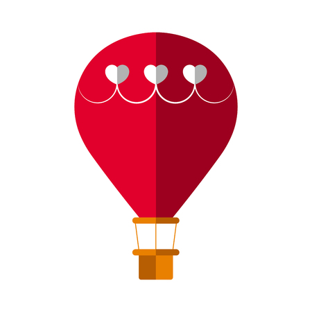 Hot air balloon with a hearts decoration. Love icon. Vector illustration design Ilustração