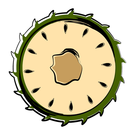 Isolated sketch of a cut soursop image. Vector illustration design Illustration
