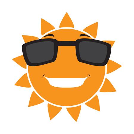 Isolierte glückliche Sonne mit Sonnenbrille. Vektorillustrationsdesign Vektorgrafik