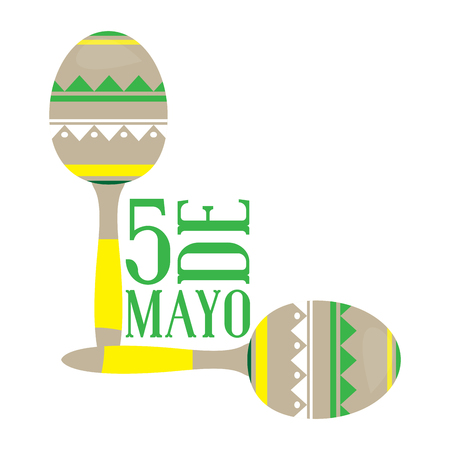 Pair of maracas. Cinco de mayo. Vector illustration design Illustration