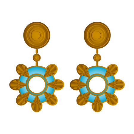 Isolated abstract flower earrings image. Vector illustration design