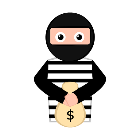 Isolated surprised thief cartoon with a money bag. Vector illustration design