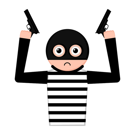 Sad thief cartoon with a weapons. Vector illustration design