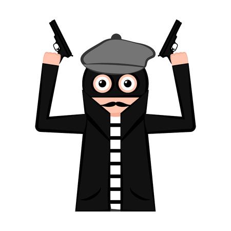 Sad thief cartoon with weapons. Vector illustration design