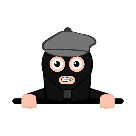 Isolated scared thief cartoon. Vector illustration design