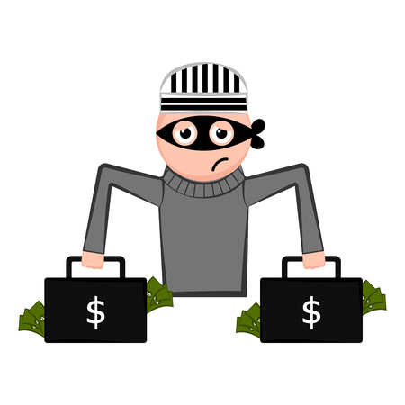 Unsatisfied thief cartoon with a money briefcases. Vector illustration design Illustration