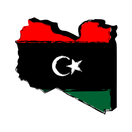 Map of Libya with flag. Sketch. Vector illustration design Illustration