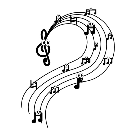 Isoliertes musikalisches Pentagrammbild. Vektorillustrationsdesign