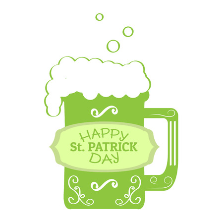 Patrick day beer with a label. Vector illustration design