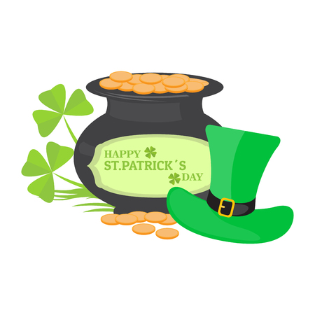 Golden coin pot with an irish hat. Patrick day. Vector illustration design